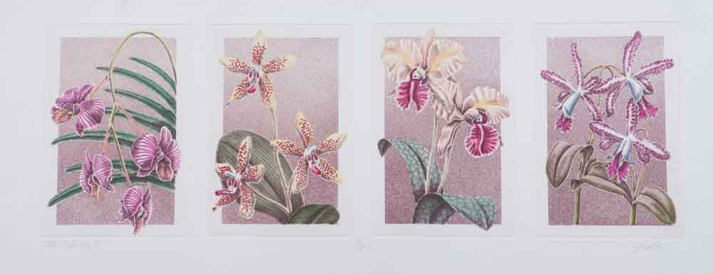 Orchid pannel flowers etching