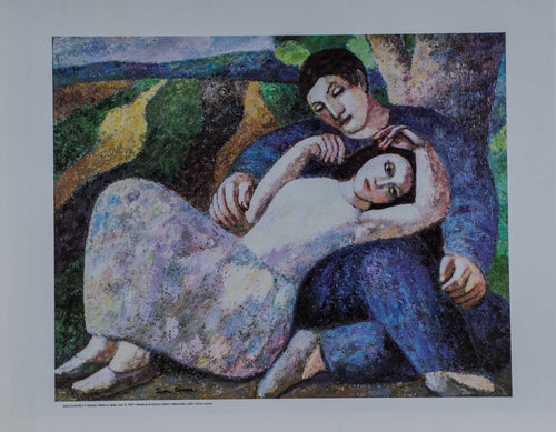 Cuban Oil painting of summer love. A couple has an intimate moment under a tree. The golden plowed fields behind them glow in the sun.