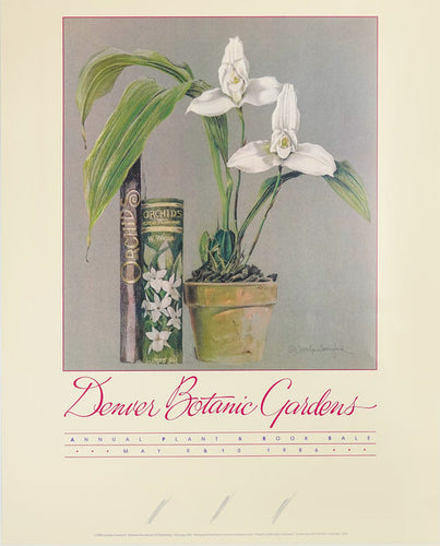 A Vintage Poster from the 1980's Advertising for the Denver Botanic Gardens Plant and Book sale featuring a stunning white Orchid and an antique novel on horticulture