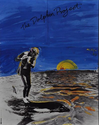 Peter Max Rare poster Riding a Dolphin while playing flute at sunset