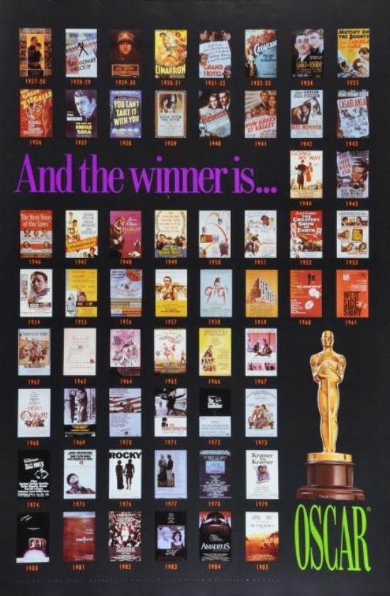 Academy Awards Poster 1927 to 1985 All the Oscar winners rare