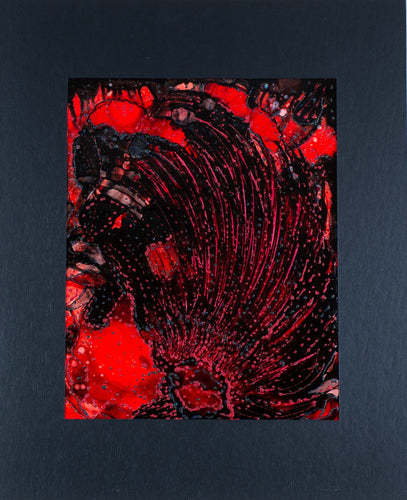 A red abstract alcohol ink with feathers and waves of texture.