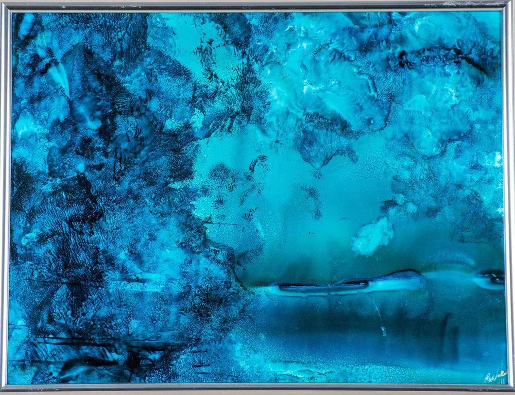 A serene blue abstract of a grotto. Pairs well with 'Swan Lake'