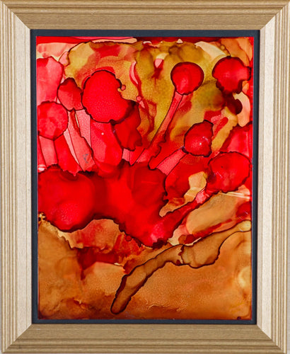 A framed alkyd ink painting of red poppies in the fall sun with a golden yellow ocre background.