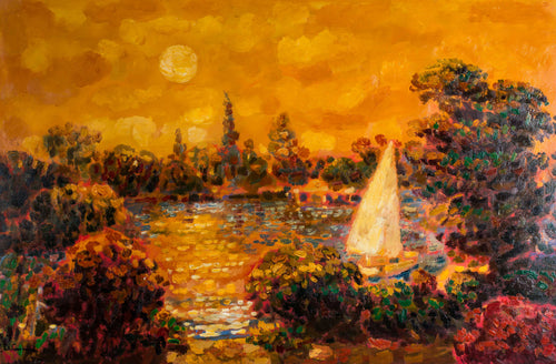 Original painting of Sailboat on tree lined lake at sunset