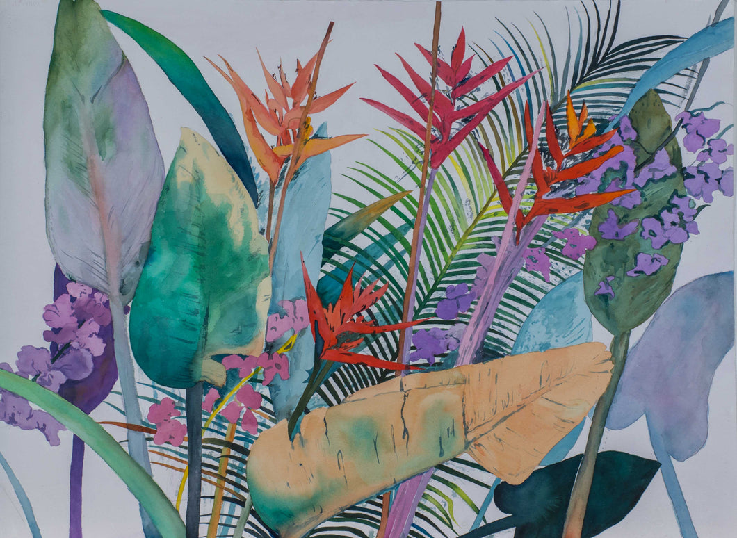 "McPherrin, Kevin ""Tropical Riot"" 22.5x30 Original Watercolor from Island of Bali"