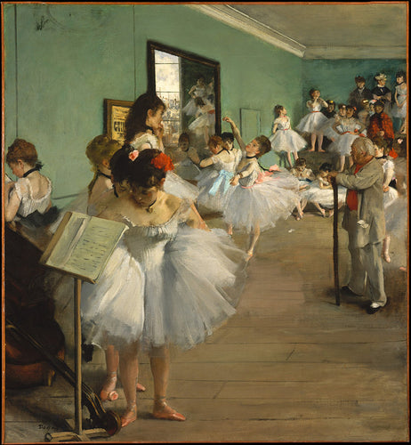 A scene of a ballet class, featuring several young ballerinas practicing in a burned down Opera House.