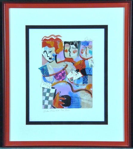 Original Painting with collage Donahey fun Bright Color faces and guitar