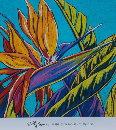 Birds of Paradise Turquoises Purples Reds Greens and oranges