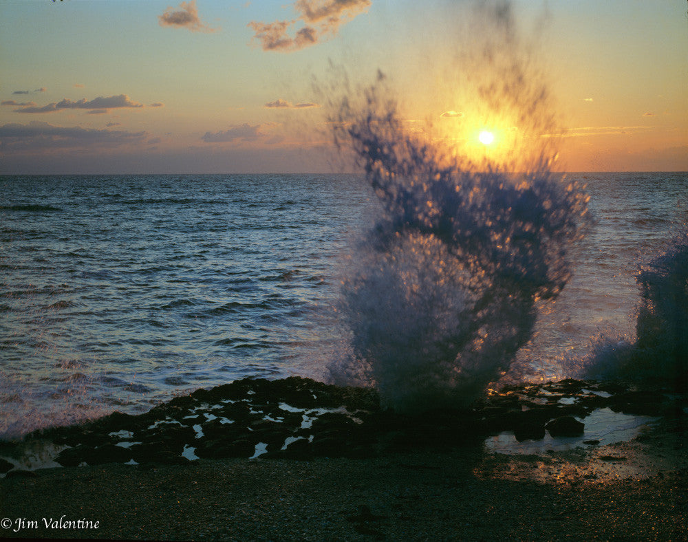 james valentine beach ocean waves hitting rocks at dusk dawn twilight sunrise sunset spray mist sea florida state parks photography