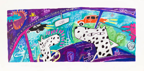 Faville Dave, ''Bad Dogs on a Joyride''  Hand made silkscreen signed by the artist 14x27