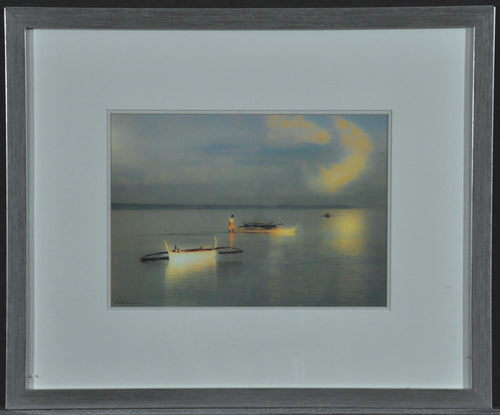 Framed Tropical print of Beach, boats & Clouds reflecting on water