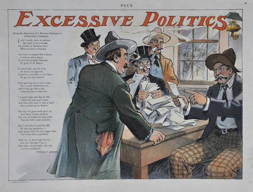 Puck 1800's Page from Magazine. Being the experience of a western politician in conducting a campaign.