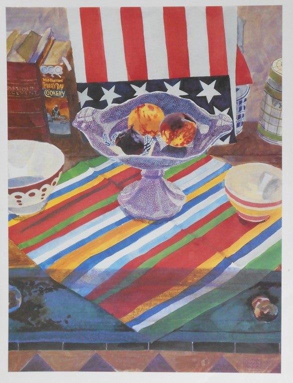 Patriotic poster print of a summer's day Red white blue