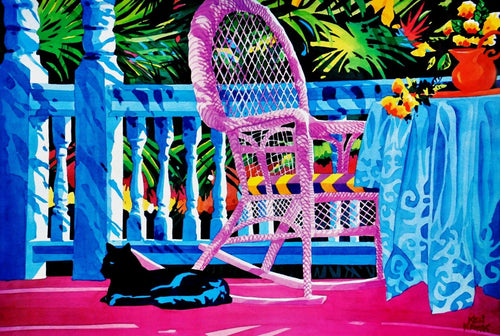 Cat on Front porch Tropical colors