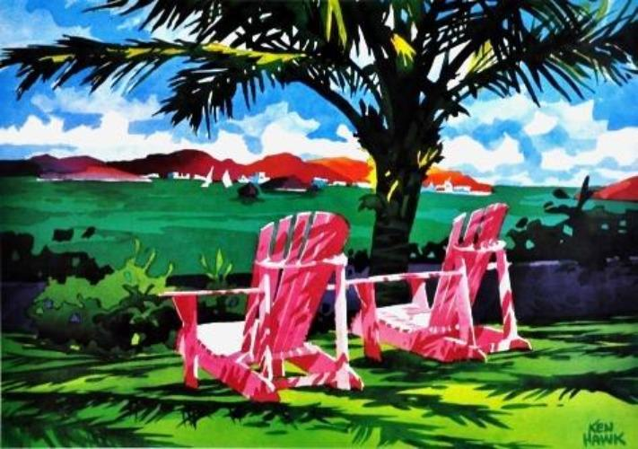 Two Adirondack Chairs tropical view