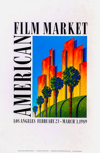 Orange & yellow glowing Palm tree lined Buildings L.A. Film market Palm tree lined Buildings