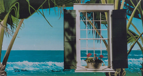 ''Banana Beach' Print Signed Ocean with floating window Banana treess