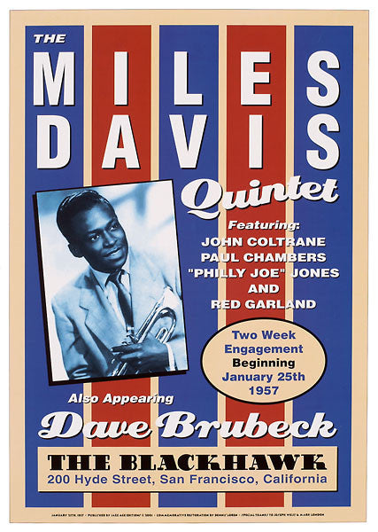 Miles Davis Dave Brubeck John Coltrane at The Black Hawk old event poster