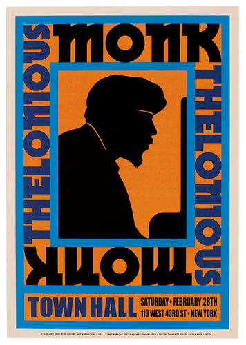 Thelonious Monk at Town Hall 113 West 43rd St New York old event poster