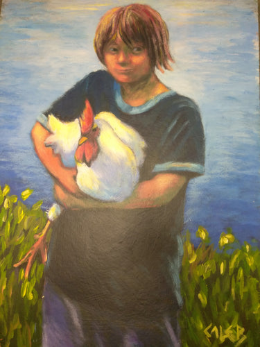 A little boy holds a rooster at a farm on a summer's day. A lake is seen in the background.