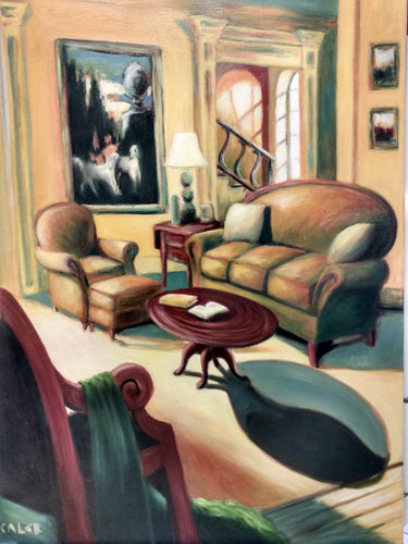A beautiful Caleb Original of a high class home featuring intricate details and color. Two Poodles are in a painting in the background.