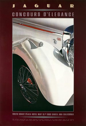 union jack jaguar white antique event automobile car poster print from a show in Santa Anna California in the South Coast Plaza Hotel in the 1980's A gorgeous White Antique Jaguar shines just waxed at a car show