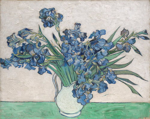 a painting by Vincent Van Gogh after he was in an insane asylum of two roses and blue irises.