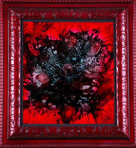 A beautiful black and red abstract in a red frame ready to hang.