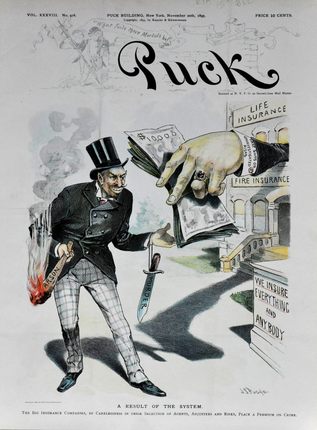 Antique political Cartoon Puck Magazine insurance company