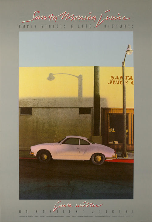 A vintage poster of a white car parked on Santa Monica Blv while the afternoon California sun sets from the 1980's.