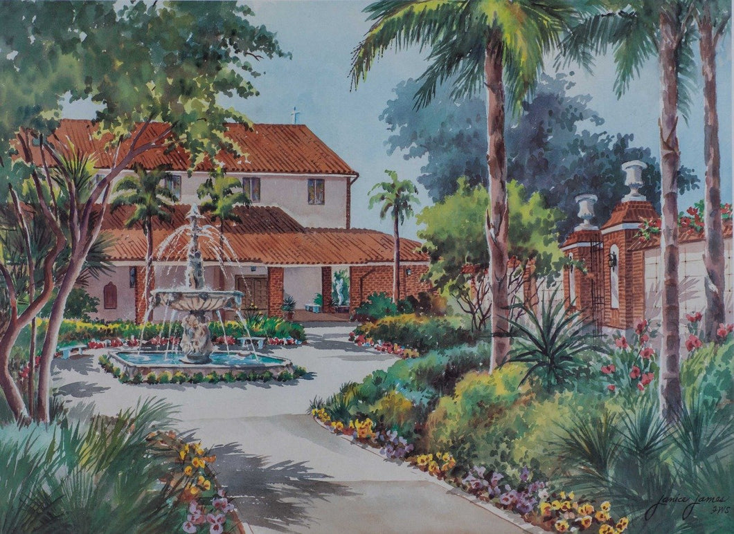James, Janice ''Courtyard Spanish Church'' Signed AP 16x21.5