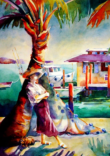 Tropical dock scene with colorful native fishing nets a women leaning on a palm trees by Janku