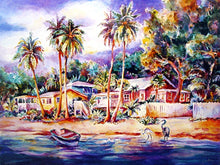 Tropical Beach lined with colorful native Village, boats and palm trees by Janku