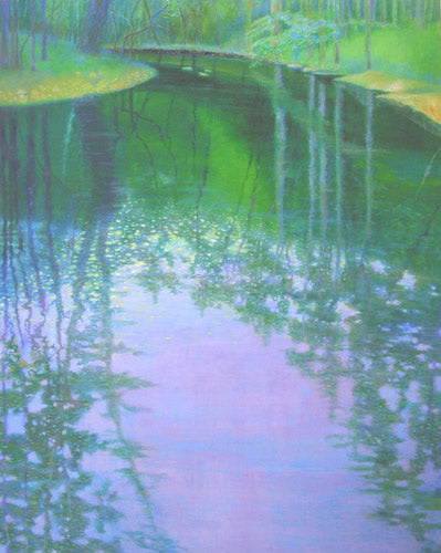 Jardine K. ''Morgan Creek in Fairy Light'' Original Hand painted oil on canvas.