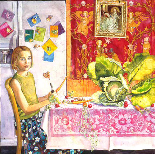 Girl sitting table figurative