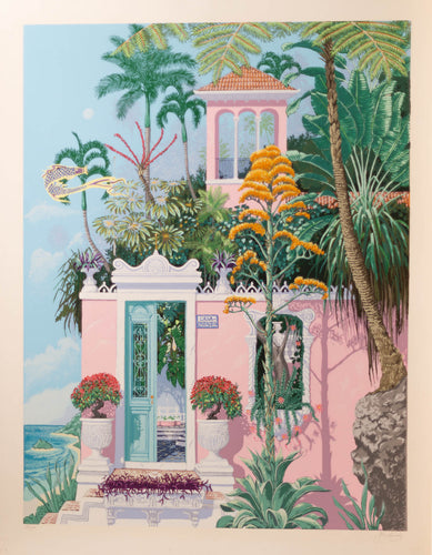 Tropical pink waterfront villa with palm trees and lush foliage Dreamed like Mediterranean Architecture