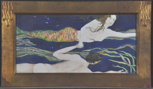 Watercolor of Mermaid and Man swiming and in Love