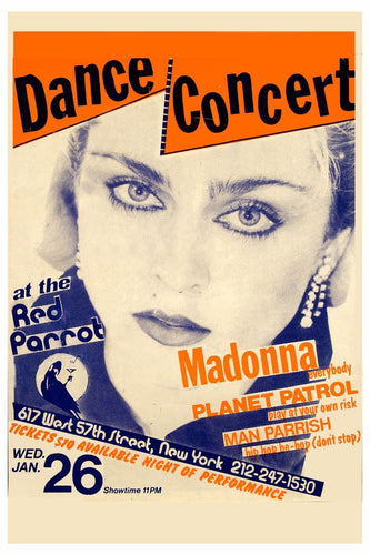 Madonna Picture 1983 vintage Poster Red Parrot Lounge Dance Conc
