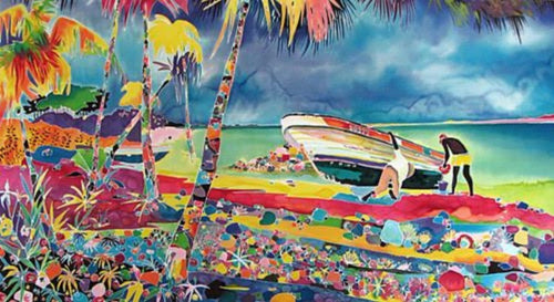 Tropical Island Life working on boat Bright Colors Jennifer Markes