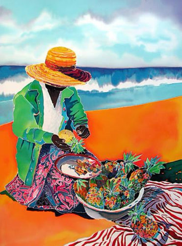 Markes-Jennifer Rich Tropical colors Lady on beach-Ltd-Ed-Hand-Printed-Serigraph-On-