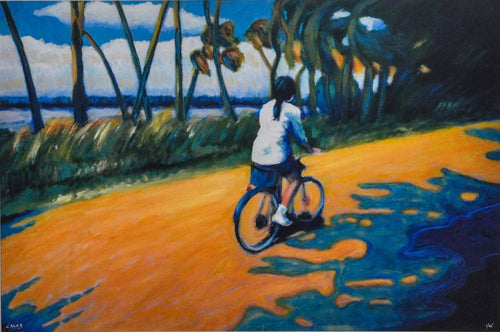 Bicycle rider on a tropical road- Sky, Clouds, Palm trees in Blue Orange green white