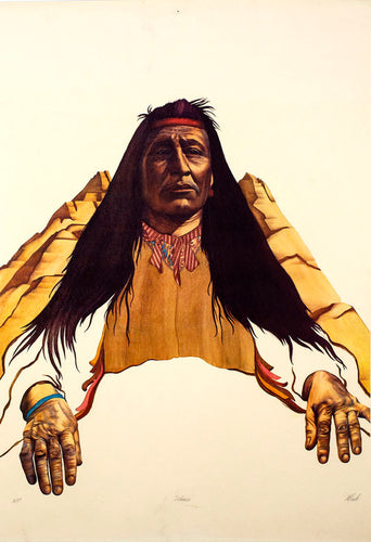 A vintage native american Indian print signed by artist Robert Allrich from the 1980's featuring a native american man sitting in front of a mountain, holding a war drum.