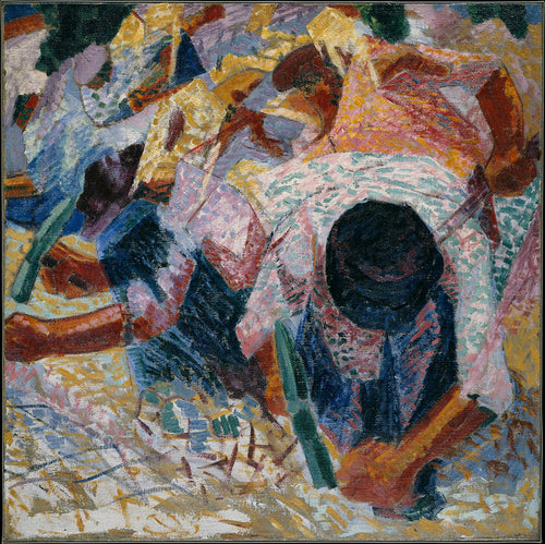 Men paving the street are depicted busily working, their faces covered by their hats.  In this colorful piece, the artists cyclical brushstrokes and flashes of color, shows the metropolitan area.