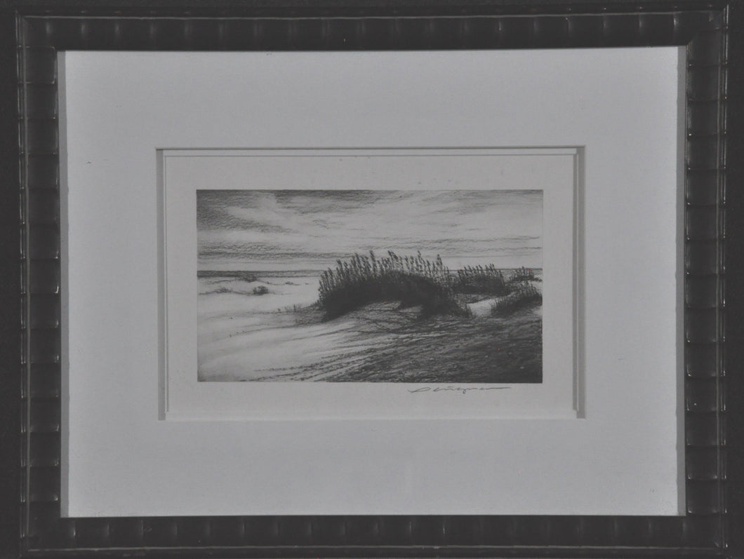 Charchol Drawing of  a Florida beach Black and White