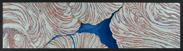 wood painting sculpture blue