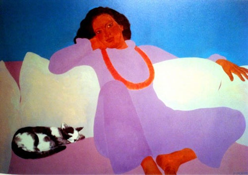American Indian women with beads with black & white cat - purple - orange