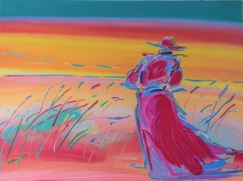 peter max walking in reeds colorful rainbow woman water lake