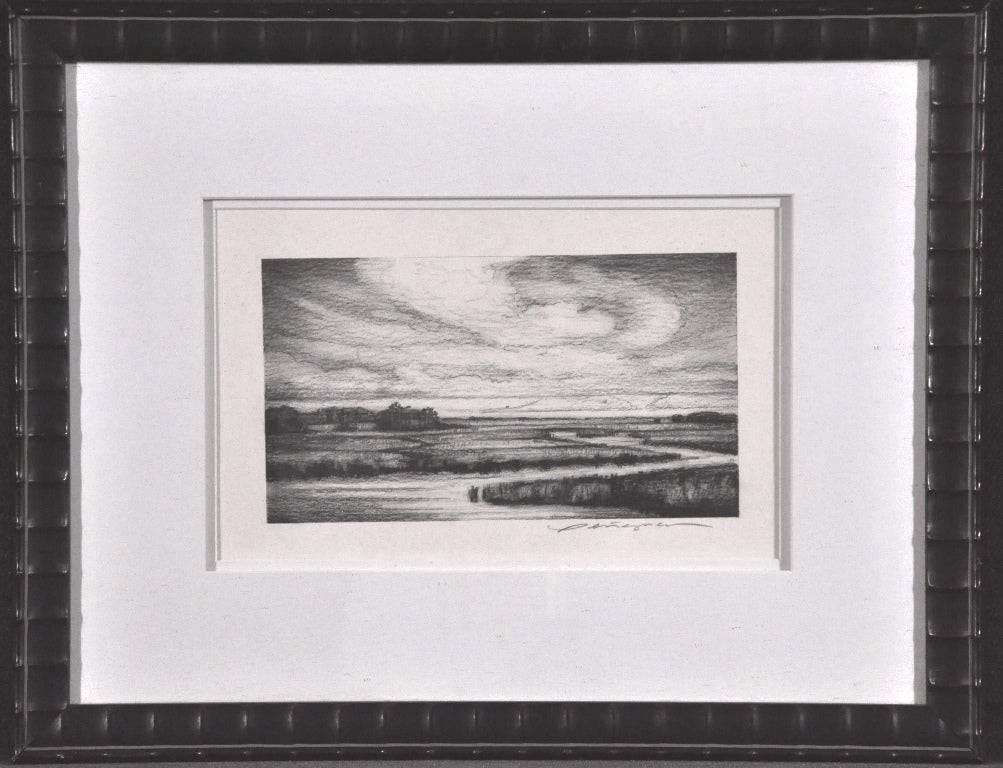 Charcoal Drawing of Low Land Marsh framed