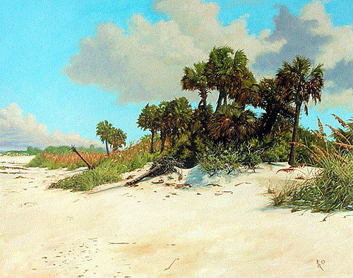 Tampa Island Egmont Key beach scene with seaoats and Palm trees-National Register of Historic Places